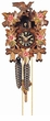 "CUCKOO CLOCKS:  9"" LEAF & BIRD w/ RED FLOWERS  1 DAY MOVEMENT"
