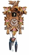 "QUARTZ CUCKOO CLOCKS:  13"" LEAF & BIRD  w/ RED FLOWERS"