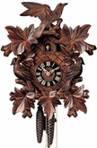 "CUCKOO CLOCKS:  14"" LEAF & BIRDS  1 DAY MOVEMENT"