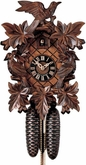 "BLACK FOREST CUCKOO CLOCK:  16"" LEAF & BIRDS  8 DAY MOVEMENT"