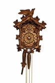 Wooden Cuckoo Clock Eight Day Movement Leaves & Bird
