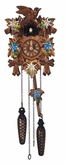 QUARTZ CUCKOO CLOCK LEAVES & BIRD  HAND PAINTED FLOWERS