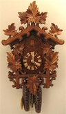 "CUCKOO CLOCKS 17"" LEAVES over BAHNHAUSLE FRAME  8 DAY MOVEMENT"