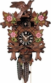 "CUCKOO CLOCK 12"" MOVING BIRDS w/ ROSES  1 DAY MOVEMENT"