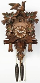"CUCKOO CLOCK 13"" MOVING BIRDS w/ FLOWERS  1 DAY MOVEMENT"