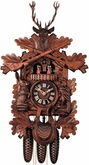 "BLACK FOREST CUCKOO CLOCKS:  20"" MUSICAL HUNTER  8 DAY MOVEMENT"