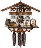 OKTOBERFEST BEER GARDEN MUSICAL CHALET  8 DAY CUCKOO CLOCKS