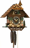 BLACK FOREST WOMAN RINGING BELL CUCKOO CLOCK