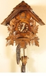 "CHALET CUCKOO CLOCK:  10"" STEEP ROOF  w/ FEEDING BIRDS  1 DAY MOVEMENT"