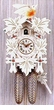 "WHITE CUCKOO CLOCKS 9"" LEAF & BIRD 1 DAY MOVEMENT"
