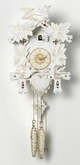 "WHITE FINISH CUCKOO CLOCK:  13"" MOVING BIRDS 1 DAY MOVEMENT"
