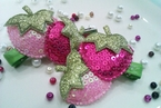 2 Berry Sweet Pink Strawberry Sequin Hair Clips