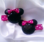 2 Minnie Mouse Pink Polka dot Sequin Hair Clips