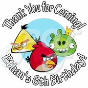 24 Angry Bird Personalized Birthday stickers