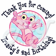24 Baby Pink Panther personalized stickers