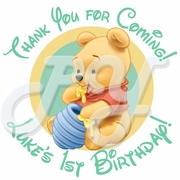 24 Baby Winnie the Pooh personalized birthday Stickers