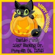24 Black Cat personalized Stickers Labels
