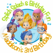 24 Bubble Guppies personalized birthday stickers