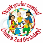 24 Caillou Personalized Birthday Stickers