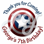 24 Captain America Personalized birthday Stickers