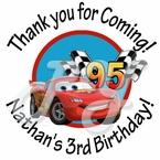 24 Cars Personalized Birthday Stickers