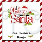 """24 """"I believe in Santa"""" personalized Christmas stickers"""