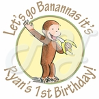 24 Curious George 1st personalized Birthday stickers