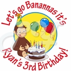 24 Curious George Personalized Stickers
