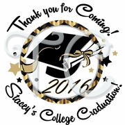 24 Custom Black and Gold Graduation Stickers