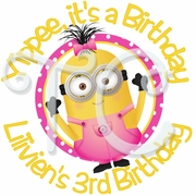 24 Despicable me Pink Girl Minions personalized Stickers