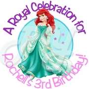 24 Disney Princess Mermaid Ariel personalized birthday stickers