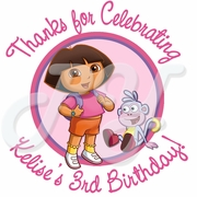 24 Dora the Explorer Personalized Birthday Stickers