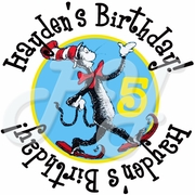 24 Dr Seuss personalized birthday stickers
