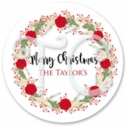 24 Floral Wreath Christmas sticker