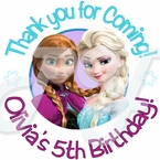 24 Frozen Elsa and Anna Personalized Birthday Stickers