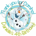 24 Frozen Fever Olaf Personalized Stickers