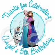 24 Frozen Personalized Birthday Stickers