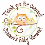 24 Happi Tree Owl Baby Shower Personalized Stickers