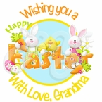 24 Happy Easter Bunnies Personalized Stickers