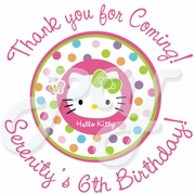24 Hello Kitty personalized birthday stickers