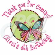 24 Hippie Chick personalized birthday stickers