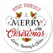 24 Personalized Holiday Christmas Stickers