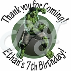 24 Incredible Hulk Personalized Birthday Stickers
