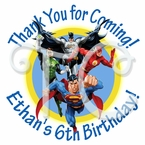 24 Justice League personalized birthday stickers