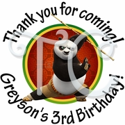 24 Kung Fu Panda Personalized Birthday Stickers