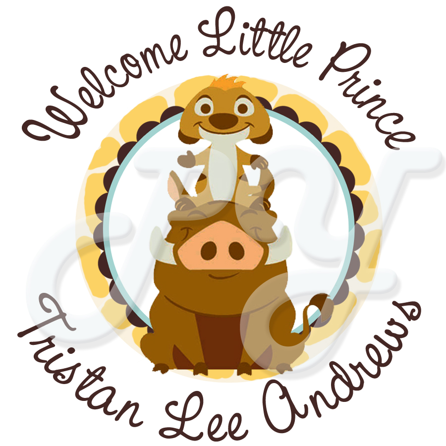 Lion King Baby Shower Personalized Stickers