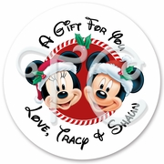 24 Mickey & Minnie personalized Christmas stickers