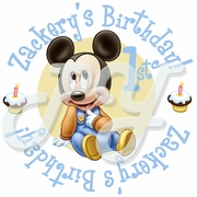 24 Mickey Mouse 1st birthday personalized stickers
