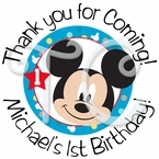 24 Mickey Mouse 1st personalized stickers
