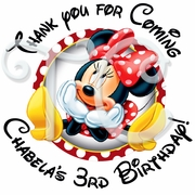 24 Red Minnie Mouse personalized birthday stickers